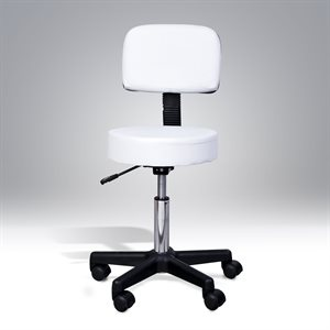 White Pneumatic stool with backrest